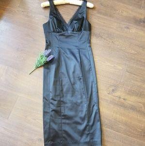 Bebe Sleek Lace Trimmed Black Dress Medium